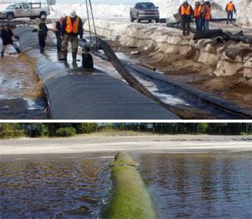 prevent shoreline erosion geotube groynes