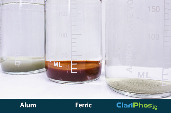 A comparison of precipitate to remove an equivalent amount of phosphorus.